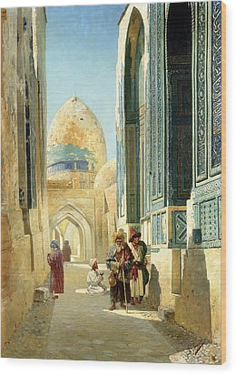 Figures In A Street Before A Mosque Wood Print by Richard Karlovich Zommer