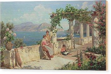 Figures On A Terrace In Capri  Wood Print by Robert Alott