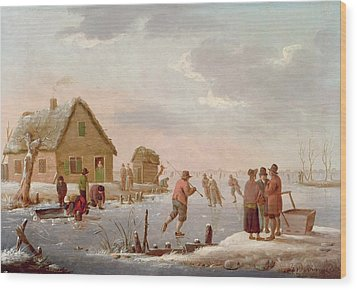 Figures Skating In A Winter Landscape Wood Print by Hendrik Willem Schweickardt