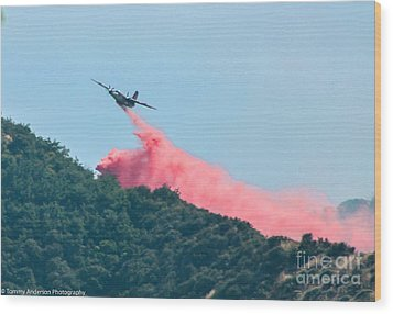 Fire Bomber Drop Wood Print by Tommy Anderson