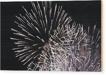Firework Within Fireworks Wood Print by Jacqueline Russell