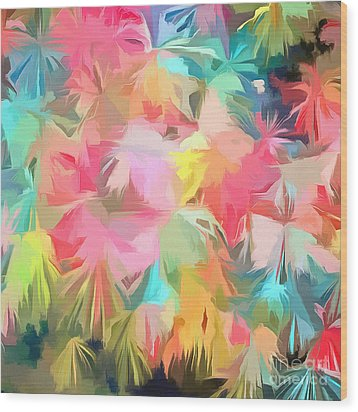 Fireworks Floral Abstract Square Wood Print by Edward Fielding