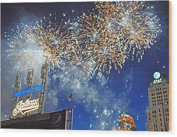 Fireworks Wood Print by Patrick Friery