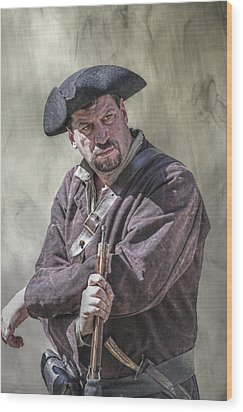 First Line Of Defense The Frontiersman Wood Print by Randy Steele
