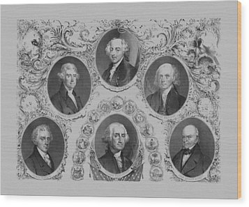 First Six U.s. Presidents Wood Print by War Is Hell Store