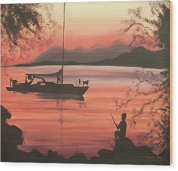 Fishing At Sunset Wood Print by Suzanne  Marie Leclair