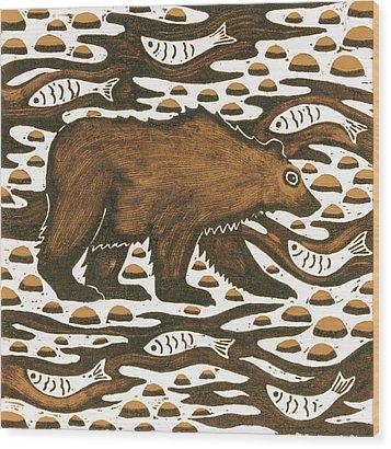 Fishing Bear Wood Print by Nat Morley