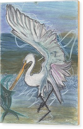 Fishing Egret Wood Print by Stu Hanson