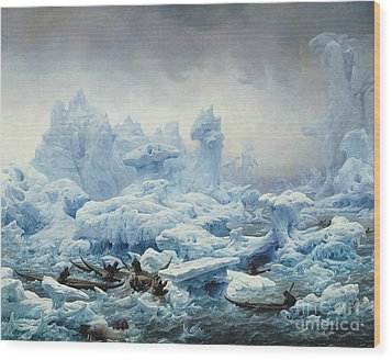 Fishing For Walrus In The Arctic Ocean Wood Print by Francois Auguste Biard