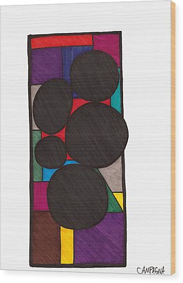 Five Dark Discs Wood Print by Teddy Campagna