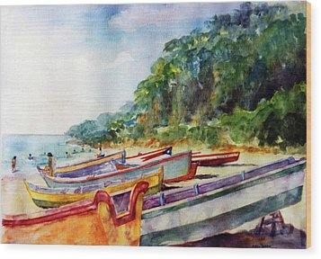 Flag Boat Crashboat Beach Wood Print by Estela Robles