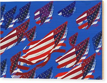 Flags American Wood Print by David Lee Thompson