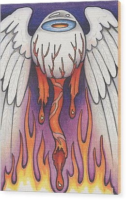 Flaming Flying Eyeball Wood Print by Amy S Turner