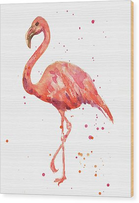 Flamingo Facing Left Wood Print by Alison Fennell
