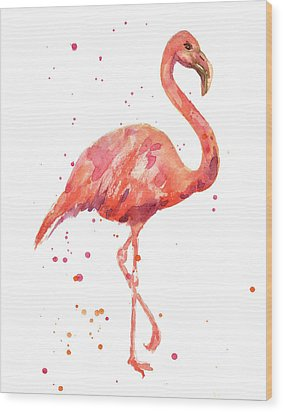 Flamingo Facing Right Wood Print by Alison Fennell