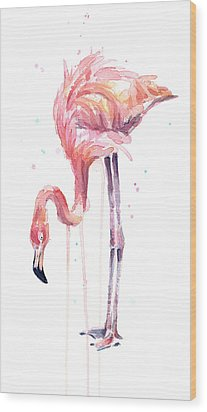 Flamingo Illustration Watercolor - Facing Left Wood Print by Olga Shvartsur