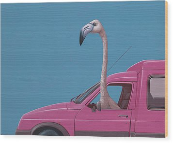 Flamingo Wood Print by Jasper Oostland
