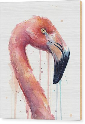 Flamingo Painting Watercolor - Facing Right Wood Print by Olga Shvartsur