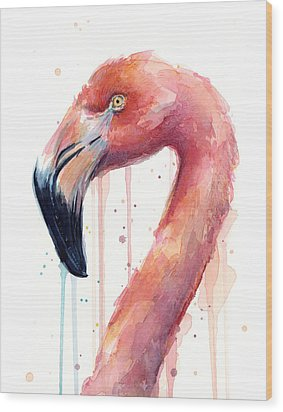 Flamingo Watercolor Illustration Wood Print by Olga Shvartsur