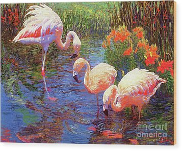 Flamingos, Tangerine Dream Wood Print by Jane Small