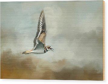 Flight Of The Killdeer Wood Print by Jai Johnson