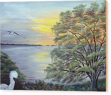 Florida Bay Sunrise Wood Print by Riley Geddings