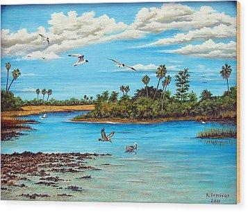 Florida Bayou Wood Print by Riley Geddings