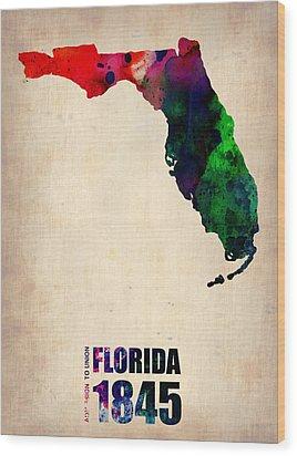Florida Watercolor Map Wood Print by Naxart Studio
