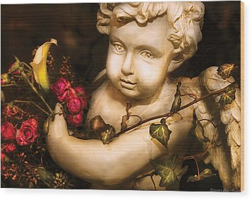 Flower - Rose - The Cherub  Wood Print by Mike Savad