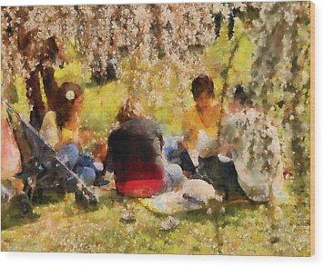 Flower - Sakura - Afternoon Picnic Wood Print by Mike Savad