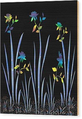 Flower Dance Wood Print by Kurt Van Wagner