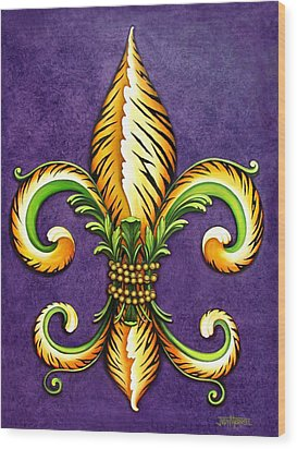 Flower Of New Orleans Lsu Wood Print by Judy Merrell