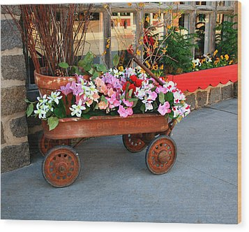 Flower Wagon Wood Print by Perry Webster