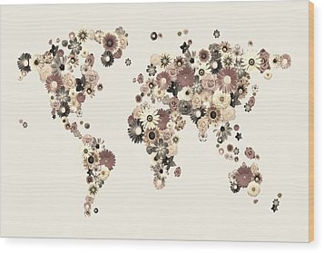 Flower World Map Sepia Wood Print by Michael Tompsett