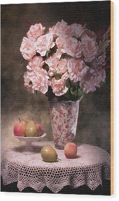Flowers With Fruit Still Life Wood Print by Tom Mc Nemar