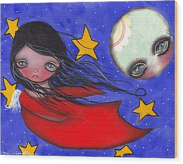 Flying With The Moon Wood Print by  Abril Andrade Griffith
