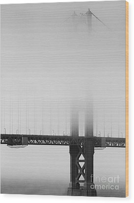 Fog At The Golden Gate Bridge 4 - Black And White Wood Print by Wingsdomain Art and Photography