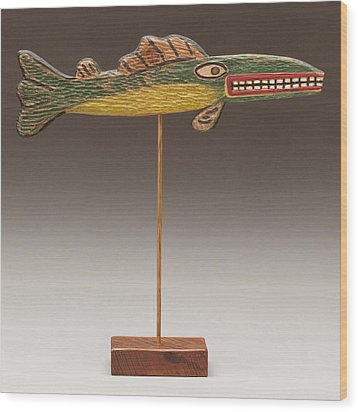 Folk Art Fish Wood Print by James Neill