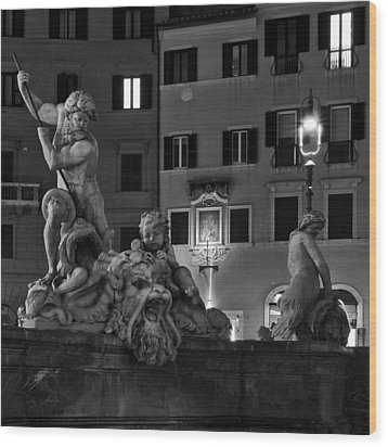 Fontana Del Nettuno Wood Print by Fabrizio Troiani