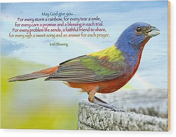 For Every Storm A Rainbow Irish Blessing Wood Print by Bonnie Barry