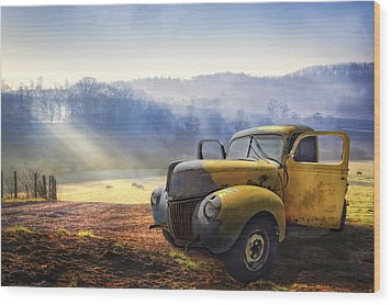Ford In The Fog Wood Print by Debra and Dave Vanderlaan
