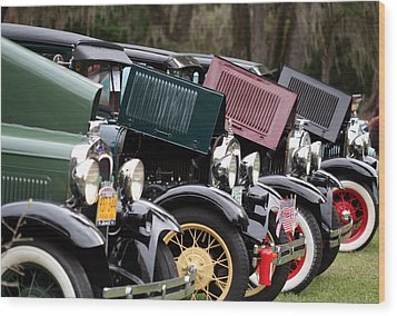 Ford Model A Line Up Wood Print by April Wietrecki Green