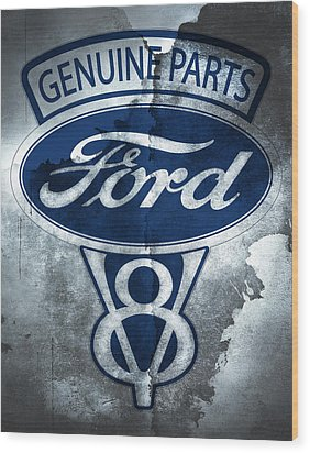 Ford V8 Wood Print by Mark Rogan