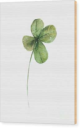 Four Leaf Clover Watercolor Poster Wood Print by Joanna Szmerdt