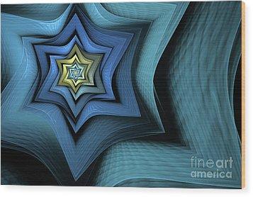 Fractal Star Wood Print by John Edwards