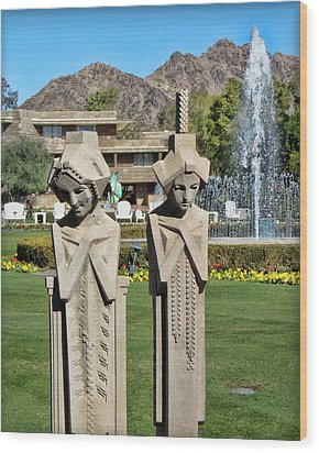 Frank Lloyd Wright Maidens At The Biltmore Wood Print by Diane Wood