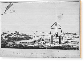 Franklin: Kite, 1788 Wood Print by Granger