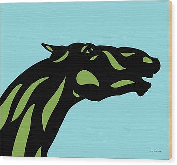 Fred - Pop Art Horse - Black, Greenery, Island Paradise Blue Wood Print by Manuel Sueess
