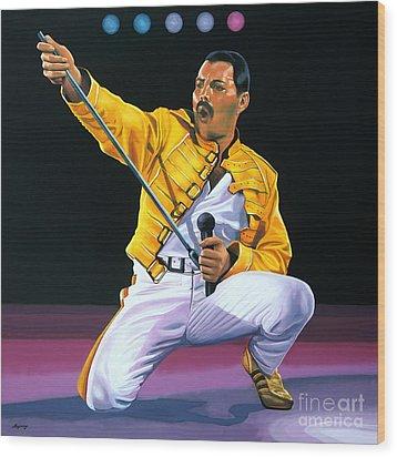 Freddie Mercury Live Wood Print by Paul Meijering