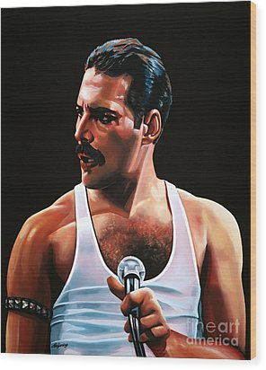 Freddie Mercury Wood Print by Paul Meijering